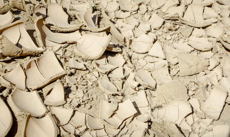 Dried mud at the bottom of a wadi in Al Hajar mountains of Fujairah, UAE