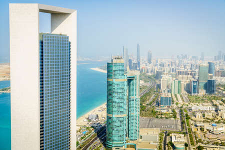Aerial view of Corniche and downtown area of Abu Dhabi, UAE Editorial
