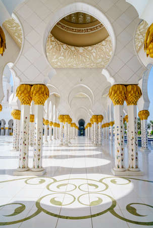 A colonnade in Sheikh Zayed Grand Mosque in Abu Dhabi, UAE