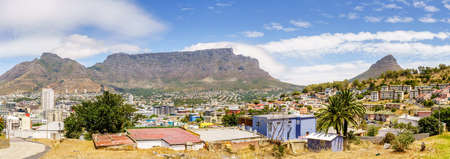 Panoramic view of Cape Town with Table Mountain and Lions Head  Mountain in the background Editorial