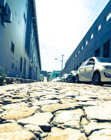 Low angle view of cobblestone street in Cape Town, South Africa