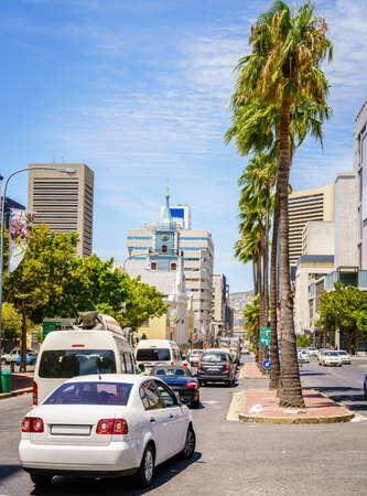 Busy street with traffic in downtown Cape Town, South Africa
