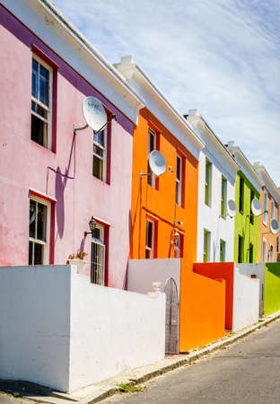 Colorful house facades in historic Bo-Kaap area of Cape Town, South Africa