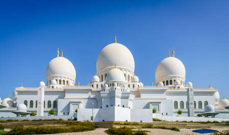 Outside view of Sheikh Zayed Grand Mosque in Abu Dhabi, UAE Stock Photo
