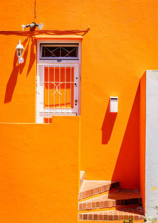 House facade details in Bo-Kaap area of Cape Town, South Africa