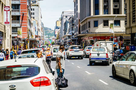 Cape Town, South Africa, February 9, 2018: Busy street with traffic in downtown Cape Town, South Africa Editorial