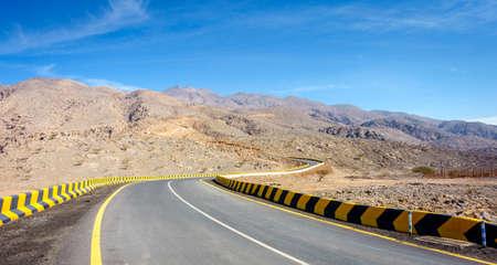 Twisty highway in Al Hajar mountains in Fujairah, UAE