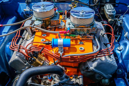 Engine compartment of a muscle American car 写真素材