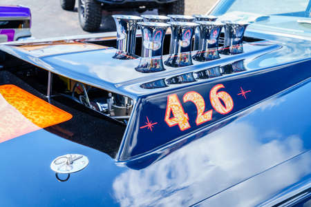Detroit, Michigan, August 19, 2016: hood fragment of an American muscle car at Woodward Dream Cruise - largest one-day automotive event in USA