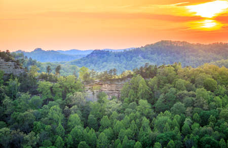Double Arch rock formation at Red River Gorge in Kentucky at sunset