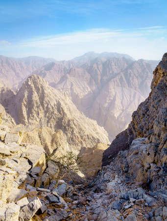 Barren landscape of Hajar mountains in Ras Al Khaimah,UAE