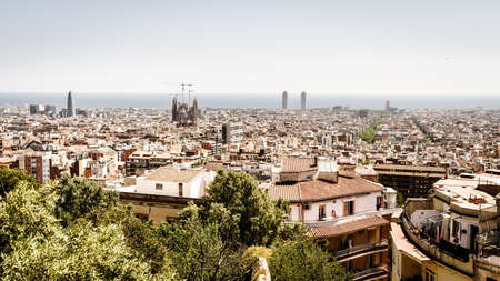 View of Barcelona skyline and the Mediterranean coast Stock Photo