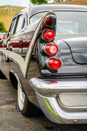 Detroit, Michigan, August 19, 2016: Tailfin details of 1959 DeSoto at Woodward Dream Cruise - largest one-day automotive event in USA