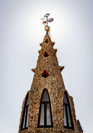 Barcelona, Spain, April 21, 2017: Tower on the roof of Palau Guell designed by Antoni Gaudi