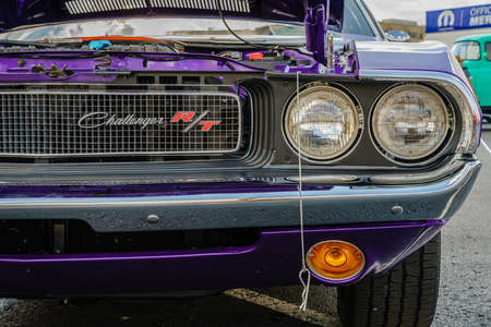 Detroit, Michigan, August 19, 2016: Grille details of a 1970 Dodge Challenger at Woodward Dream Cruise - largest one-day automotive event in USA