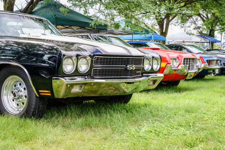 Detroit, Michigan, August 19, 2016: Vintage cars on display at Woodward Dream Cruise - largest one-day automotive event in USA