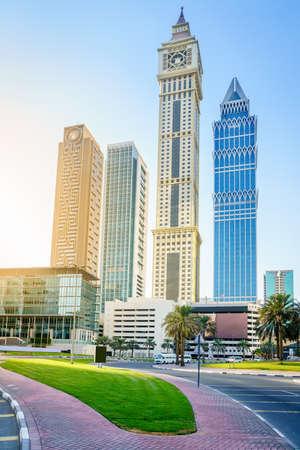 View of Al Yaqoub Tower and surrounding skyscrapers in Dubai, UAE Stok Fotoğraf