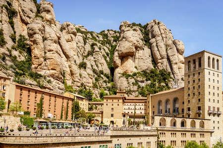 Montserrat, Spain, April 23, 2017: Monastery of Santa Maria de Montserrat on the mountain of Montserrat in Catalonia, Spain