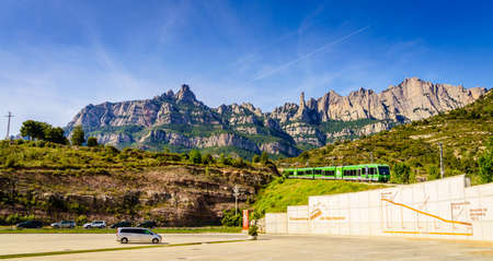 Montserrat, Spain, April 23, 2017: Rack railway train from Monistrol Vila to the sanctuary on Montserrat Mountain, Spain