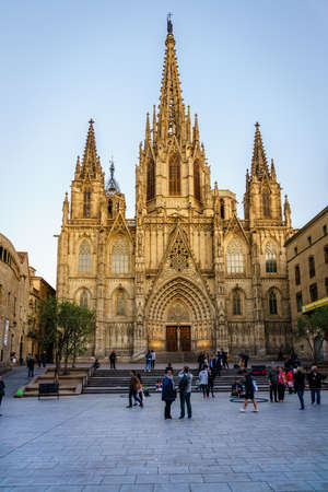 Barcelona, Spain, April 22, 2017: The Cathedral of the Holy Cross and Saint Eulalia, also known as Barcelona Cathedral in the center of Barcelona, Spain