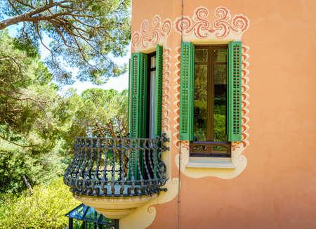 Barcelona, Spain, April 22, 2017: Fragment of the house of Antoni Gaudi in Barcelona, Spain
