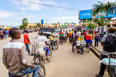 Muhanga, Rwanda, February 26, 2019: People are gathered to watch Tour Du Rwanda cycling race in the city of Muhanga, Rwanda Editöryel