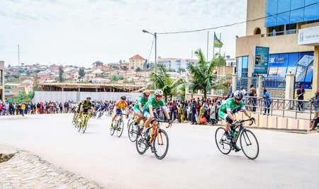 Muhanga, Rwanda, February 26, 2019: Stage 3 of Tour Du Rwanda cycling race in the city of Muhanga, Rwanda Editöryel