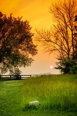 Scenic sunset in the Bluegrass region of Kentucky