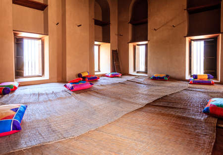 Rustaq, Oman, May 28, 2016: Interior room in historic Rustaq Fort in Oman Editöryel