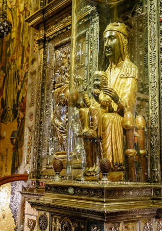 Montserrat, Spain, April 23, 2017: Image of the Virgin of Montserrat, aka Our Lady of Montserrat, aka Black Madonna
