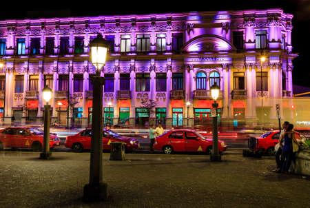 San Jose, Costa Rica, November 21, 2014: Nighttime view of Melico Salazar Theatre in San Jose, Costa Rica