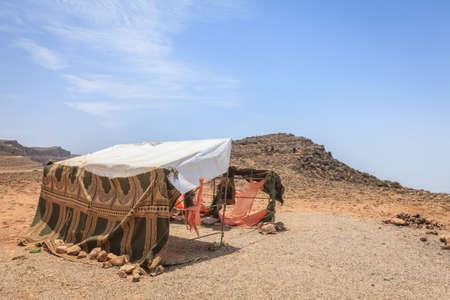 An abandoned camel herders tent at Jebel Samhan plateau, Oman Stok Fotoğraf