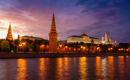 View of the Moscow Kremlin from the embankment of the Moscow River after sunset