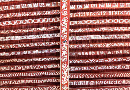 Elements of traditional ceiling design in a house in Oman