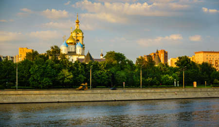 View of the Novospassky Monastery from the Moscow River in Moscow, Russia Stok Fotoğraf