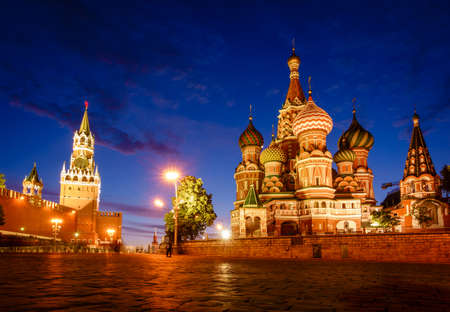 Scenic view of St. basil Cathedral on the Red Square in Moscow, Russia after sunset