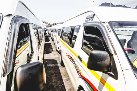 Taxi fleet at a taxi terminal in Cape Town, South Africa