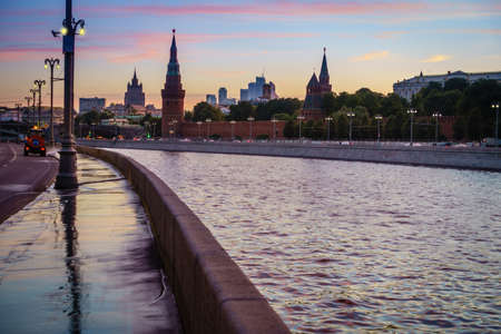 View of the Moscow Kremlin from the embankment of the Moscow River at sunset Stok Fotoğraf
