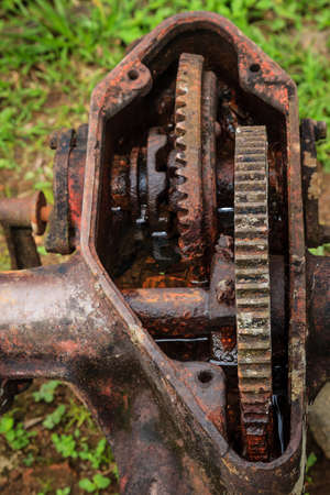 Close-up image of an old open rusted gearbox Stok Fotoğraf