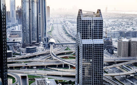 View of Dubai downtown buildings and Sheikh Zayed Road