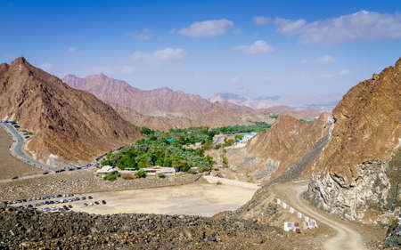 High angle view of an oasis near Hatta Dam in the Emirate of Dubai, UAE