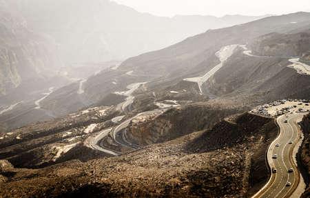 Mountain road on Jebel Jais in Ras Al Khaimah, UAE Imagens