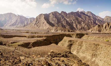 Scenic landscape in Hajar Mountains near Hatta, UAE