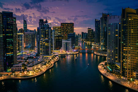 Scenic view of Dubai Marina, UAE after sunset