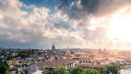 View of Rome skyline under stormy skies from Terrazza del Pincio