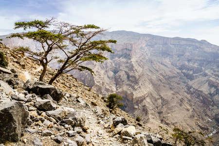 Rock formations of Wadi Ghul aka Grand Canyon of Arabia in Jebel Shams, Oman