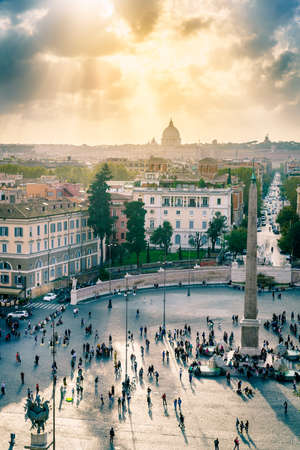 High angle view of Piazza del Popolo and surroundings under dramatic sky