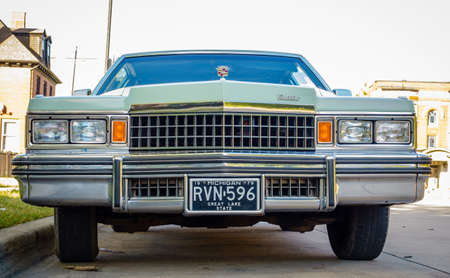 Detroit, Michigan, August 1, 2015: Front view of 1979 Cadillac Fleetwood Brougham in Detroit, Mi