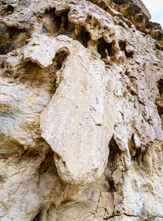 Erosion pattern in Wadi Ghul aka Grand Canyon of Arabia in Jebel Shams, Oman