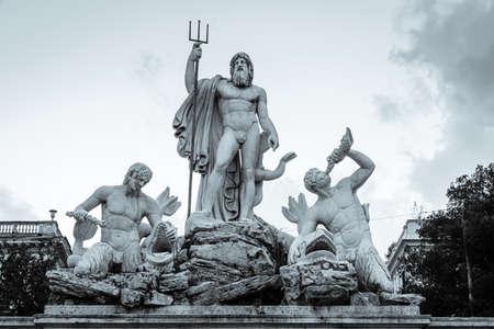 Scupltures of Fontana del Nettuno or The Fountain of Neptune on Piazza del Popolo in Rome, Italy